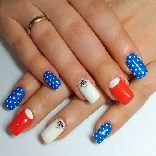 Patriotic Colors With Polka Dots Art #polkadots #crystals