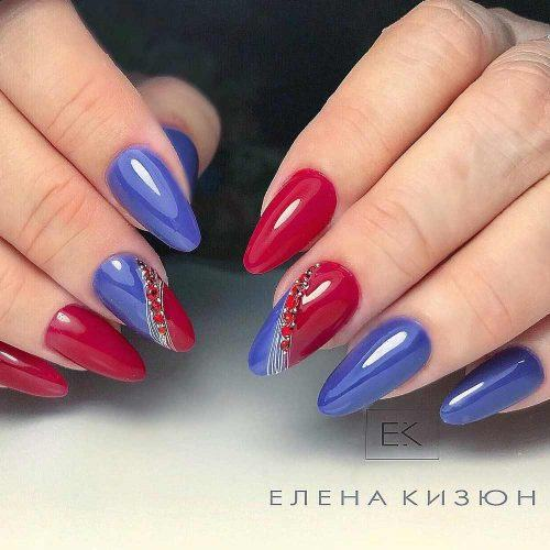 Red And Blue Design With White Art #crystalsdesign
