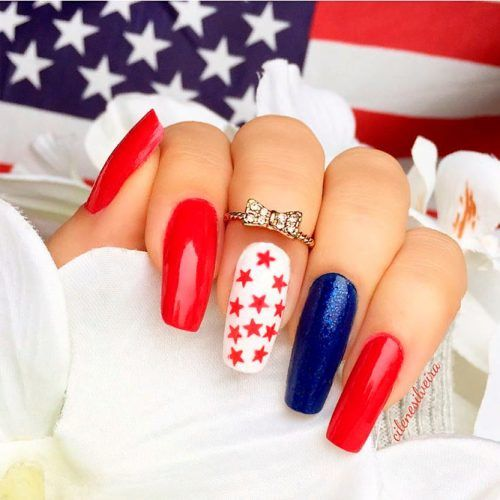 Red Stars Patterned Nails #redbluenails #longnails