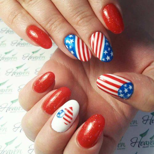 Patriotic Nails With Heart Art #heartart