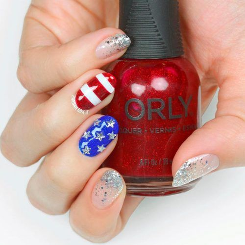 Patriotic Nail Art With Stars #studsnails #gitternails