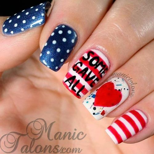 Patriotic Nail Art Design #glitternails #stripednails