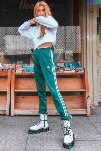 Adidas Pants With Crop Sweatshirt Outfit #greenadidaspants