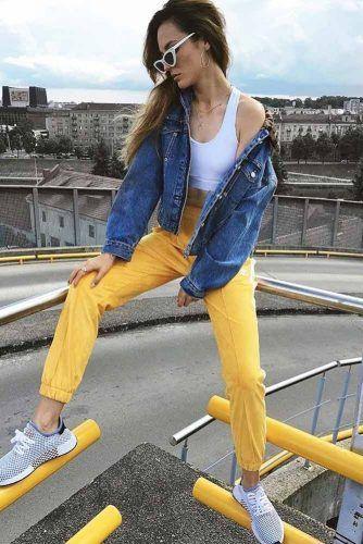 Oversize Denim Jacket With Adidas Pants #whitetop