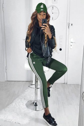 Green Adidas Pants With Moto Jacket Outfit #motojacket