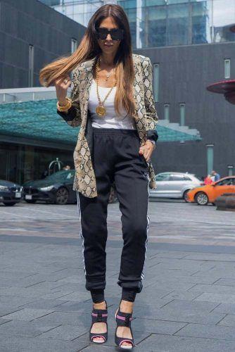 Black Adidas Pants With Print Jacket #printjacket