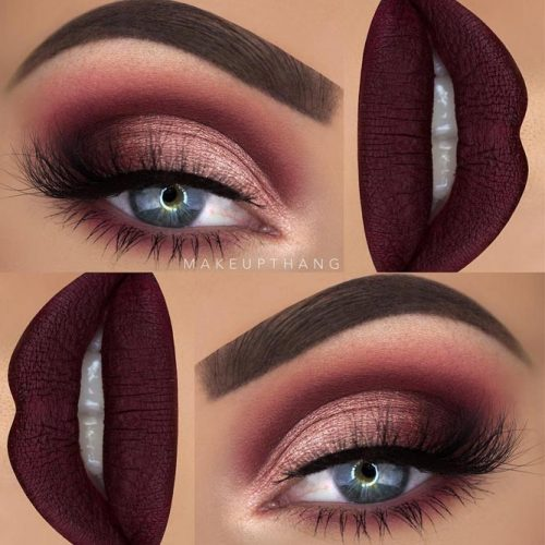 Beautiful Makeup Ideas with Maroon Lips picture 6