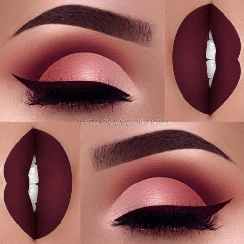 Beautiful Makeup Ideas with Maroon Lips picture 4