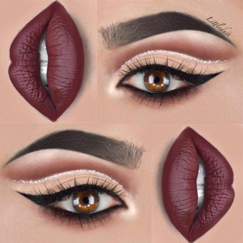 Beautiful Makeup Ideas with Maroon Lips picture 2