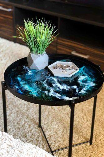 Metallic Coffee Table With Waves Art #wavesart