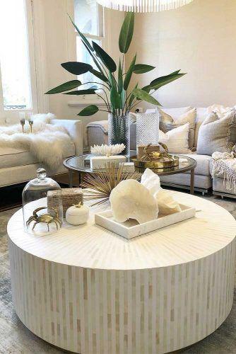 Modern White Round Coffee Table Design #whitecoffeetable