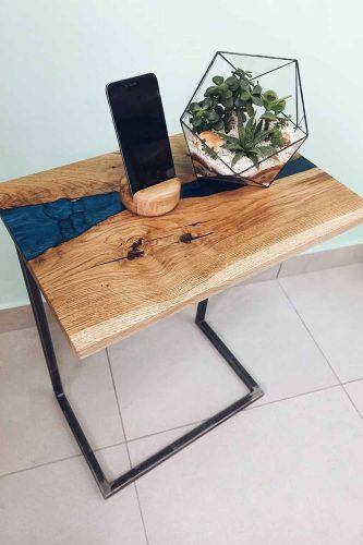 Wooden Coffe Table With Epoxy Art #woodentable