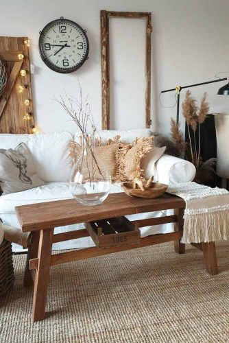 Wooden Rustic Coffee Table #shelves #storagespace