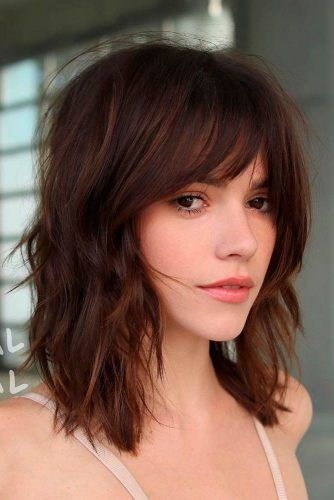 Stylish Layered Long Bob With Bang #layeredhairstyles #lobhairstyles