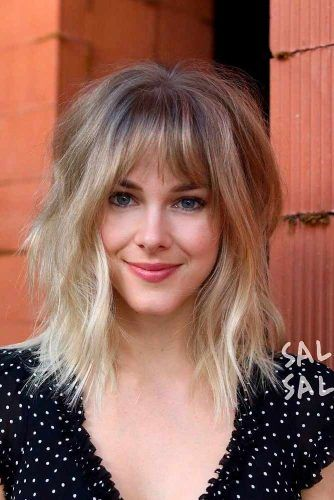 Sjaggy Lob With Bang #shaggyhairstyles #blondehair