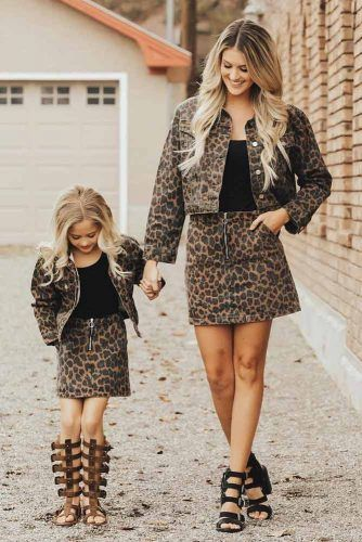 Print Jacket And Skirt Mommy And Daughter Outfits #printjackets