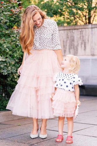Polka Dots And Pink Skirts Outfit #mommyanddaughter
