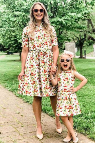 Print Dresses Mommy And Daughter Outfit #printdresses