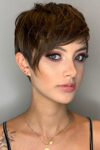 Cute Short Haircut Ideas #pixie #layeredhair #bangs