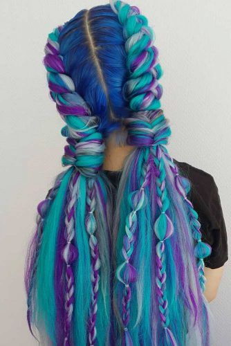Blue And Green Braided Hairstyle With Ponytails #fishtail