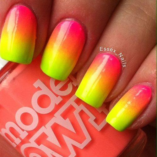 Neon Half Nails