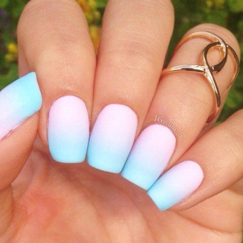 Soft Ombre Rainbow Nails