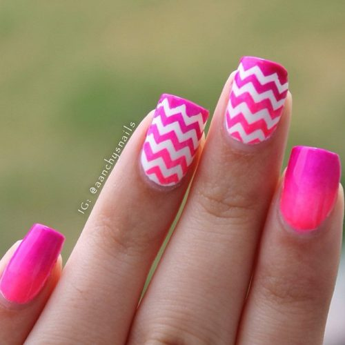 Neon Pink Chevron Nails