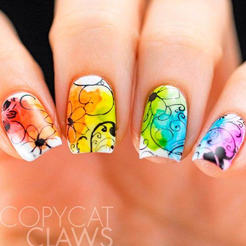 Abstracted Colorful Nail Art #colorfulnails #abstractednails