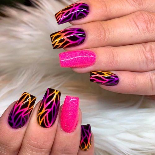 Bright Abstracted Nails #brightnailart #gradientnails