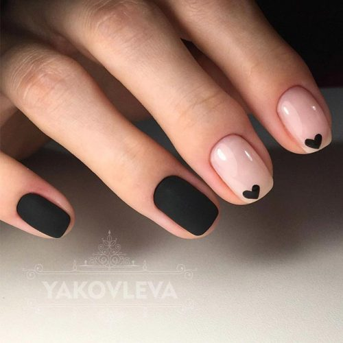 Black Hearts Nail Art