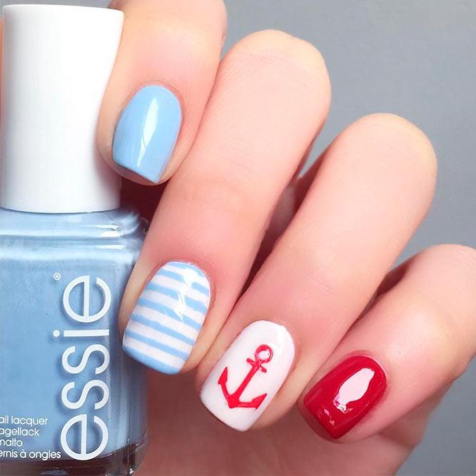 Stunning Red Anchor Nails #shortnails #squarenails