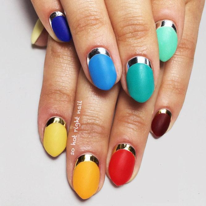 Metallic Reverse French Mani On Colorful Base #crescentnails #crescentmanicure #mattenails #reversefrenchmanicure