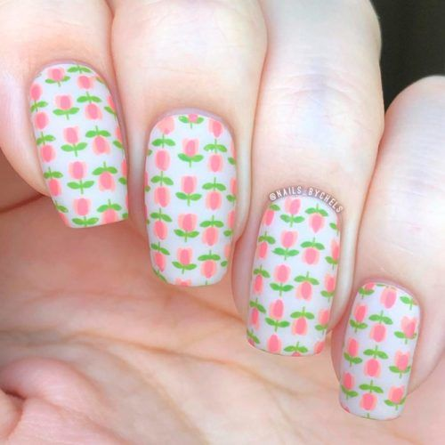 Floral Striped Pattern #floralnails #patternednails