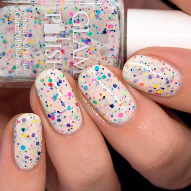 Rainbow Glitter Mix And Iridescent Flakies #glitternails #easynailart