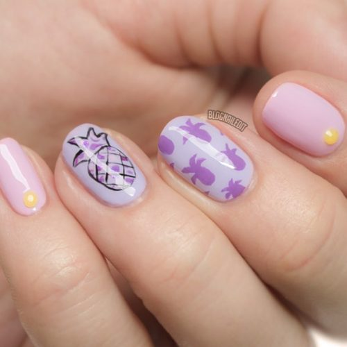 Pretty Pineapples In Soft Shades #lavendernails #purplenails #pineapplenails #fruitnails