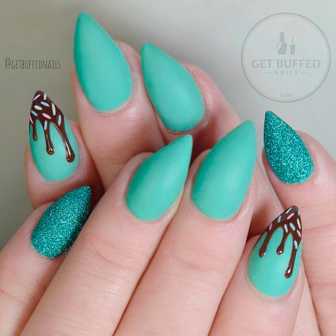 Sweet Ice Cream Nail Art #icecreamnailart #glitternails