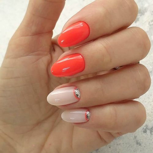Ornate Moons In Combination With Bright Orange #halfmoonnails #halfmoonmanicure #orangenails #reversefrenchmanicure