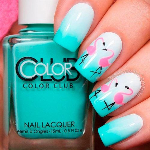 Flamingo And Ombre Nails Design #ombrenails #flamingonails