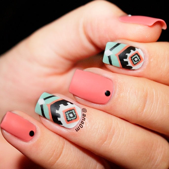Stylish Tribal Summer Nails #tribalnails #peachnails