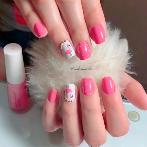 Pink Flamingo Nail Design #pinknails #prettynails