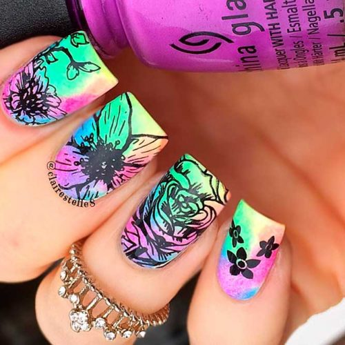 Bright Rainbow Ombre Nails #ombrenails #nailstamping