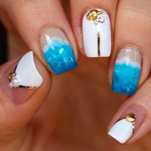 Sea Mood Nail Art Designs #prettynails #rhinestonesnails