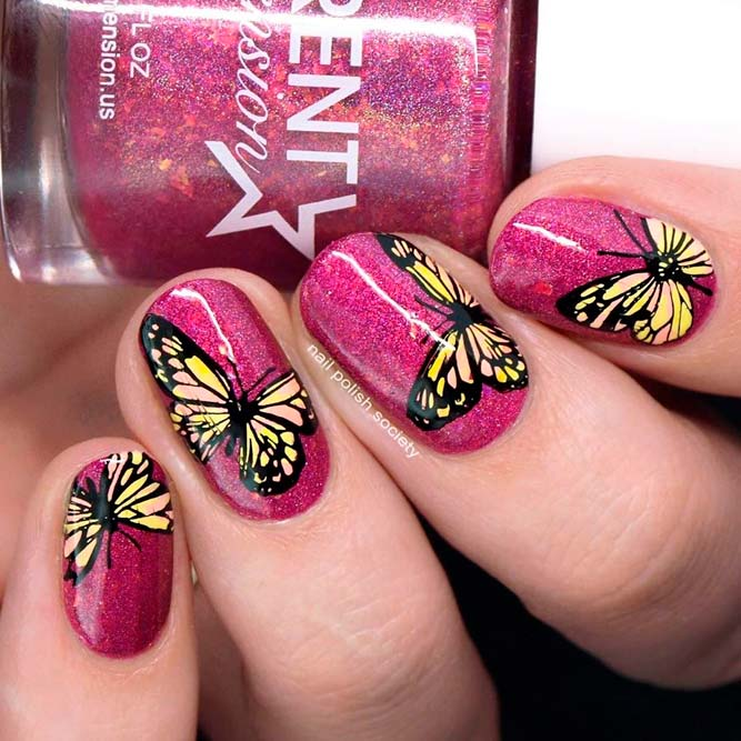 Sparkly Butterfly Nail Art #sparklynails #butterflynails