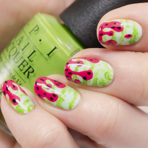 Whacky Watermelons Manicure For Summer Days #watermelonnails #fruitnails #drippingnails
