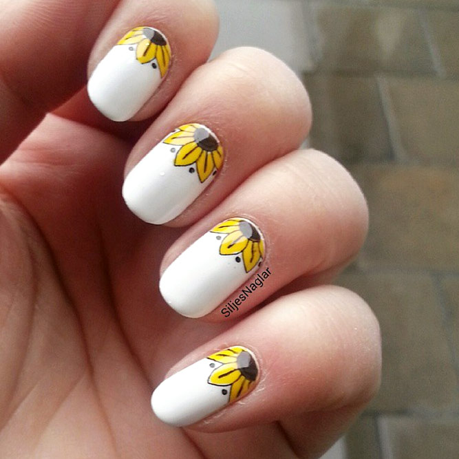 Sunny Summer Nail Art With Floral Pattern #floralnails #flowernails #whitenails #sunflowernails