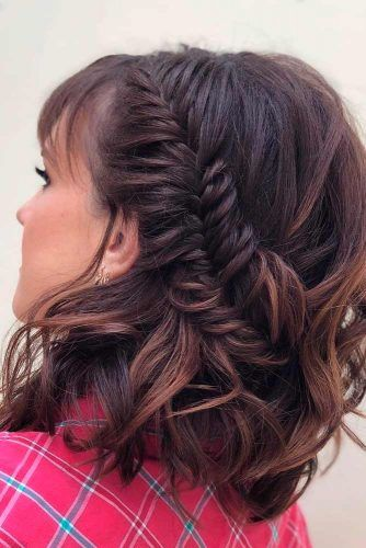 Braided Half Up For Medium Length Hair #brownhair #braidedhairstyles #halfuphair