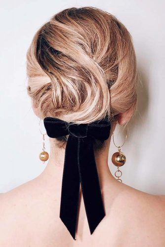 Easy Updo With Bow #hairbow