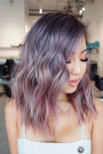 Pale Purple Wavy Hair #ombrehair #colorfulhair #wavyhair