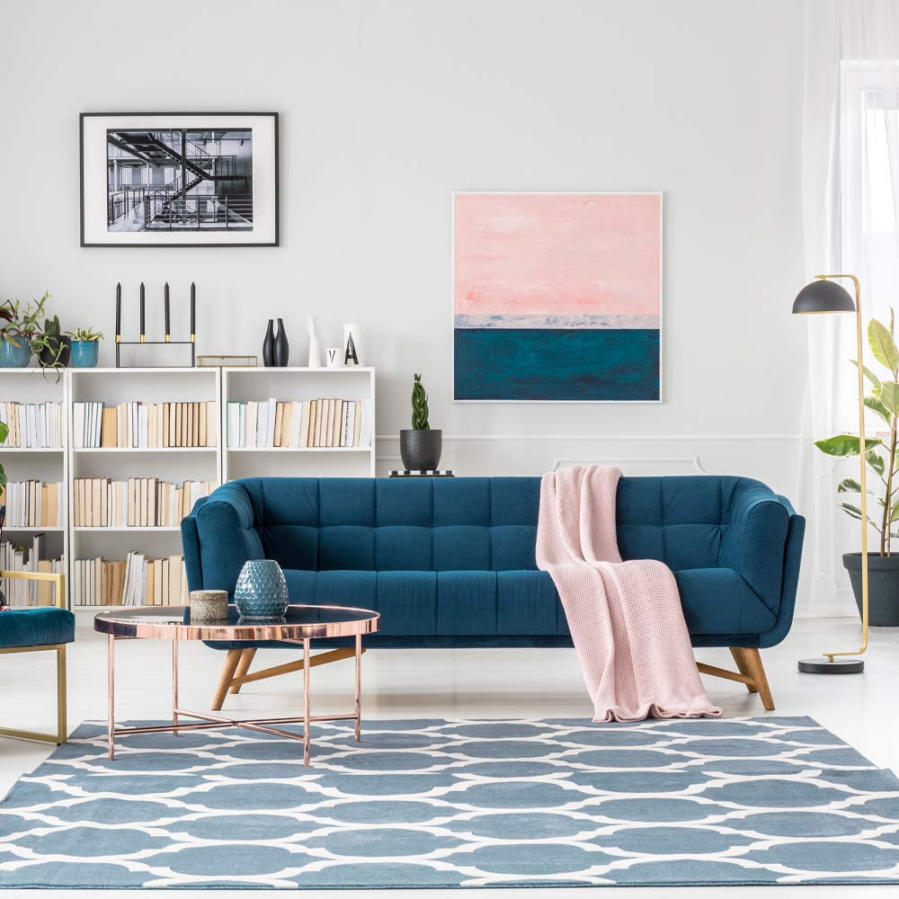 Blue and Pink Colored Living Room