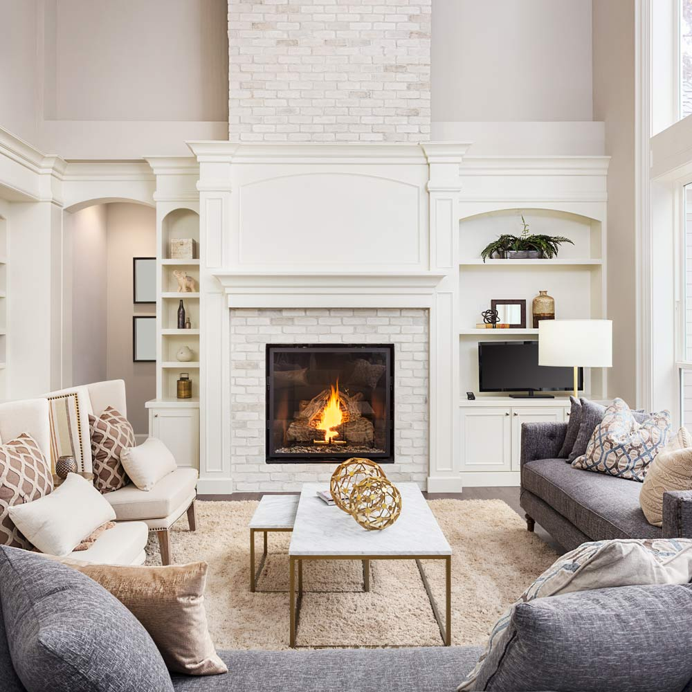 Living Room with Fireplace Decor Idea